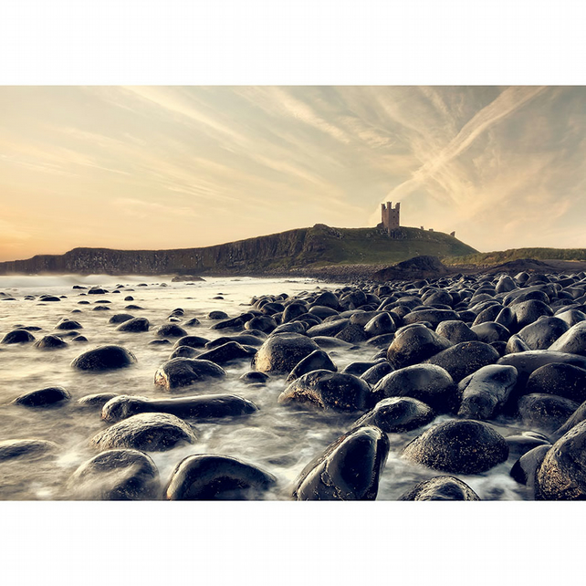 Dunstanburgh Castle wall art, Northumberland coastal photography