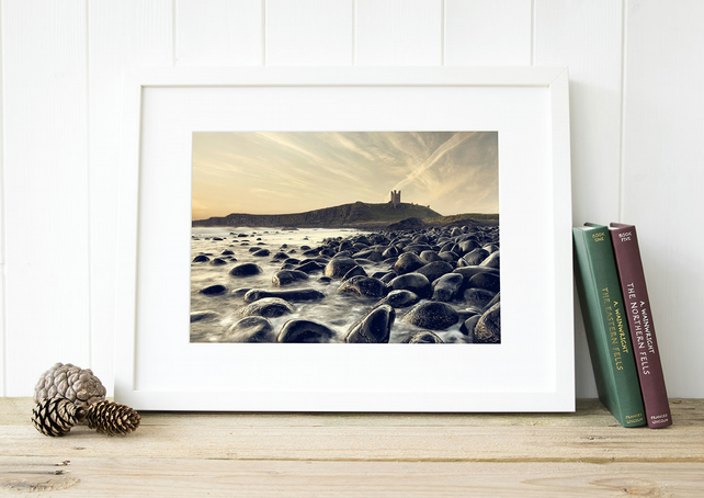 Dunstanburgh Castle wall art print - Northumberland coastal photography seascape