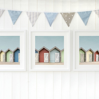 Blyth beach huts, Northumberland seaside wall art, North East photography