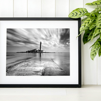 St Mary's Lighthouse, Minimal black and white living room photography print