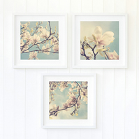 Pastel magnolia wall art prints - Floral bedroom art - Floral decor print set
