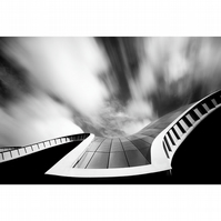 The Sage, abstract curved architecture, modern monochrome photography