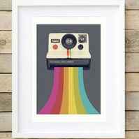Retro grey wall art, retro camera print, retro gift for him