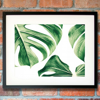 Monstera leaf wall art, Monsteara plant gifts, Gift for plant lover