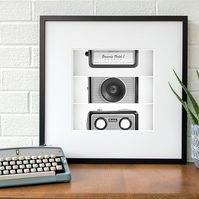 Retro style black and white camera art print, Vintage camera fine art photo
