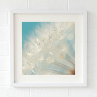 Raindrop dandelion print, bathroom wall art, spring interior trends 2019