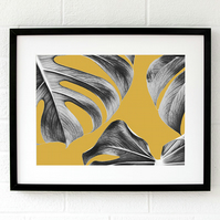 Monstera leaf print, Mustard Living room wall art, Yellow plant art, Plant gift