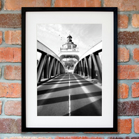 Newcastle Swing Bridge black and white art print, North East photography UK