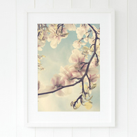 Magnolia spring bedroom art, Floral living room art, Pastel hallway art