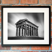 Black and white Penshaw Monument fine art photography, Sunderland UK