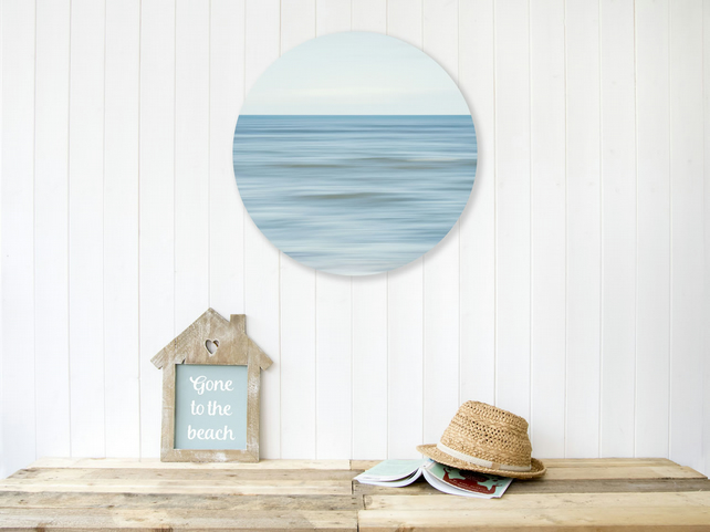 Blue coastal wall art - Luxurious birch wood sphere - Nautical interior style