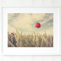Poppy wall art print - Landscape photography - Wheat field fine art photography