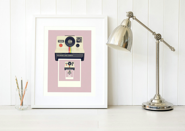Pink print - Retro camera print gift for daughter - Pop of pink gift for niece