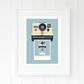 Blue print - Retro camera art gift for son - Gift for nephew - Gift for brother