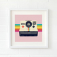 Pink camera print - Pink camera art - Rainbow print - Camera gift for her