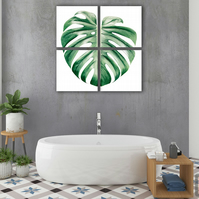PLant art - Monstera leaf print - Green home decor - Living room wall art