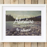 Bathroom wall art rustic mountain print, Toilet art adventure print