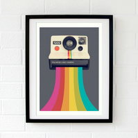 Retro grey wall art - Retro camera print - Retro gift for him