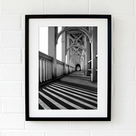 Newcastle upon Tyne High Level Bridge black and white wall art print