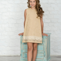 Custom made neutral girls dress, girls trapeze dress,  girls formal dress