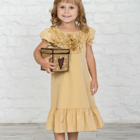 Made To Measure Junior Bridesmaid Ivory Dress Flower Girl Puff Sleeve Dress