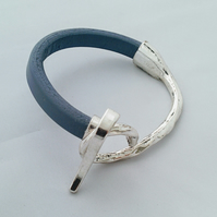 Grey Leather Cuff Bracelet with Silver Clasp