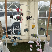 Handmade elephant cot mobile with coloured ears and tail to match your nursery