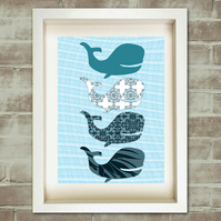 Blue whale - Fine art print, water animal,blue pattern