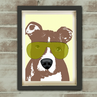 American Pit Bull Terrier Dog - Fine art print, dog lover, sun glasses,dog art