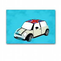 Mini Cooper Car - Stripped Pattern with union jack 10X8 Inches