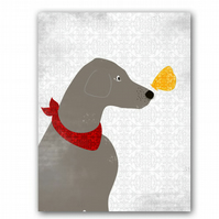 Weimeraner Dog Fine art print, grey