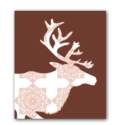 Damask Reindeer in chocolate colour