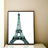 Floral Damask Eiffel Tower