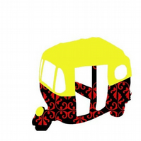 An auto rickshaw with damask design - fine art print