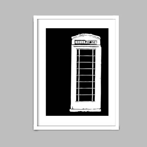 Black and White an English telephone booth - Fine Art Print