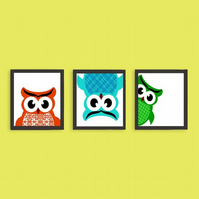 Owls playing hide and seek nursery decor naughty  - Fine Art Prints 10X8 Inches