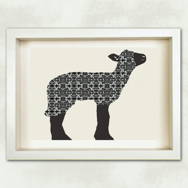 Baa baa black sheep - Fine Art Print, black and white damask, sheep, black sheep