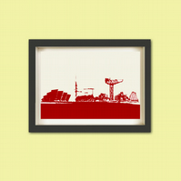 Glasgow City Skyline - Fine Art Print, Modern Decor , Wall Art , City