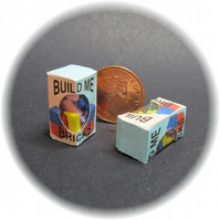 Dolls House 1:12th scale miniature 2 x boxes of build me bricks