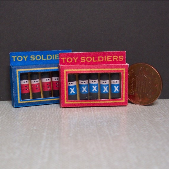 Dolls House 1:12th scale miniature two boxes of tiny toy soldiers