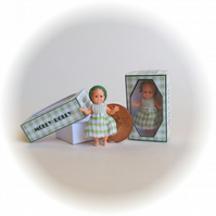 Dolls House 1:12th scale miniature, a boxed dolly for your dollhouse doll. Green