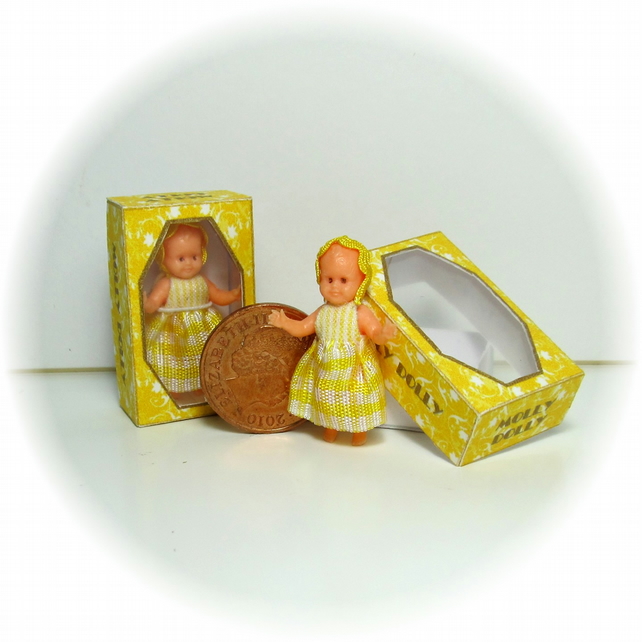 Dolls House 1:12th scale miniature a boxed dolly for your dollhouse doll. Yellow