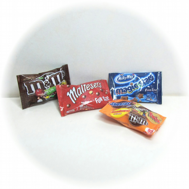 Dolls House 1:12th scale miniature fun size chocolate multipacks.