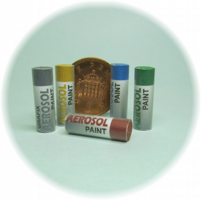 Dolls House 1:12th scale miniature aerosol paints