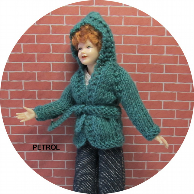 Dolls House 1:12th scale knitted jacket with hood, petrol PRICE REDUCED