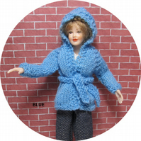 Dolls House 1:12th scale knitted jacket with hood, blue