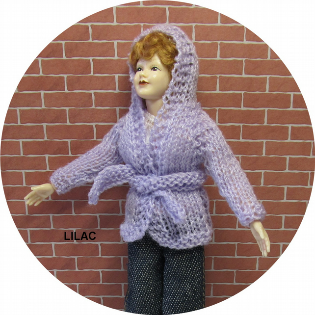 Dolls House 1:12th scale knitted jacket with hood, lilac PRICE REDUCED