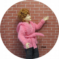 Dolls House 1:12th scale knitted jacket with hood, pink