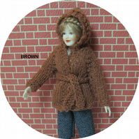 Dolls House 1:12th scale knitted jacket with hood, brown