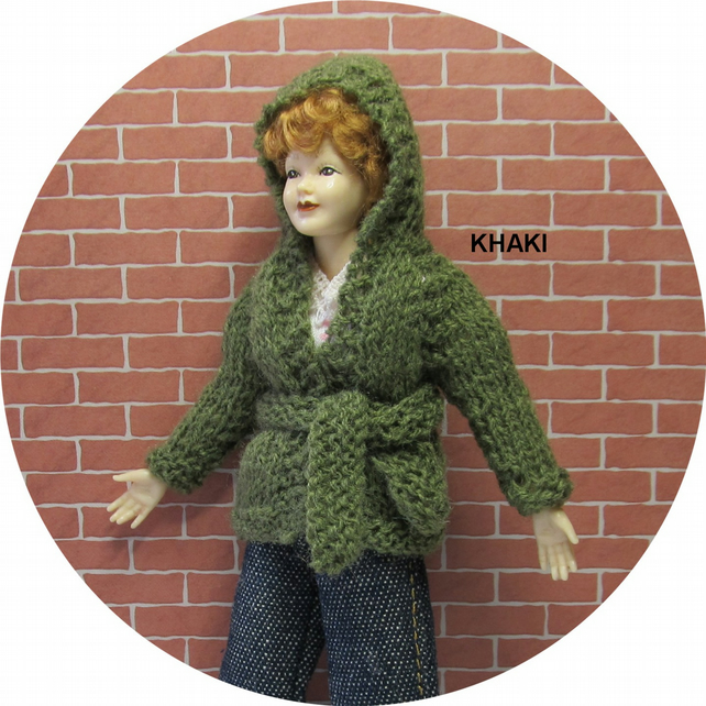 Dolls House 1:12th scale knitted jacket with hood, khaki